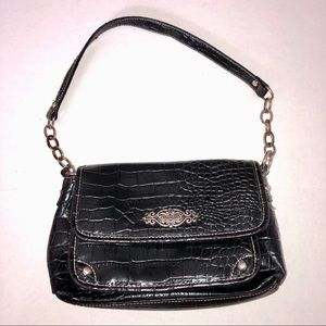 Rosetti Chain Crocodile Black Shoulder Bag Purse